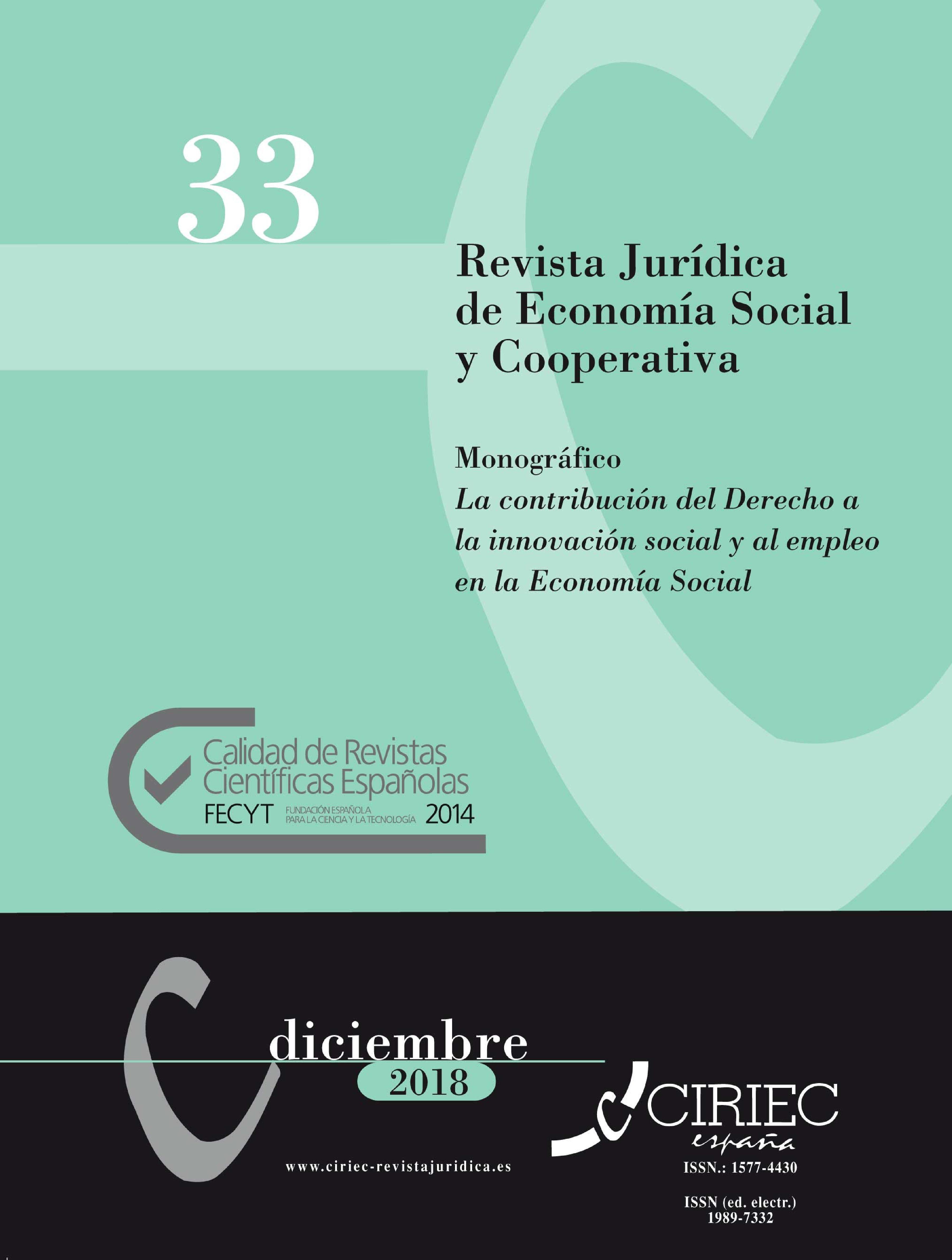 """Monográfico """"La contribución del Derecho a la innovación social y al empleo en la Economía Social"""", en la Revista Jurídica de Economía Social y Cooperativa de CIRIEC España."""